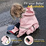 HAPIU Kids Toddler Rain Suit Muddy Buddy Waterproof Coverall,Pink,2T,Upgraded