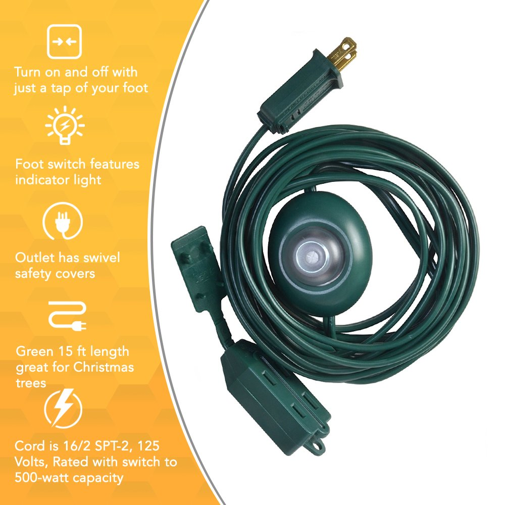 15Ft, Green Coleman Cable 10203 Woods Indoor Extension Cord With Lighted Foot Switch And 3 Outlets