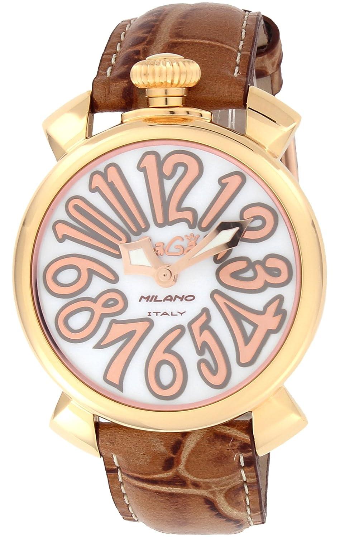 [ガガミラノ]GaGa MILANO 腕時計 MANUALE 40mm ホワイトパール文字盤 ステンレス(PGPVD)ケース 5021.2-BRW【並行輸入品】 B00553BH04