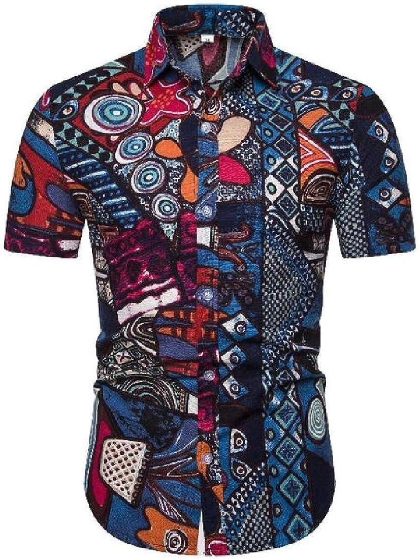 Zantt Men African Print Short Sleeve Casual Relaxed Fit Cotton Linen Button Down Shirt