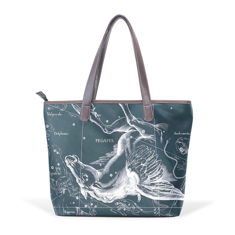 Womens Leather Tote Bag,Fantasy Constellation Graph Pegasus,Large Handbag