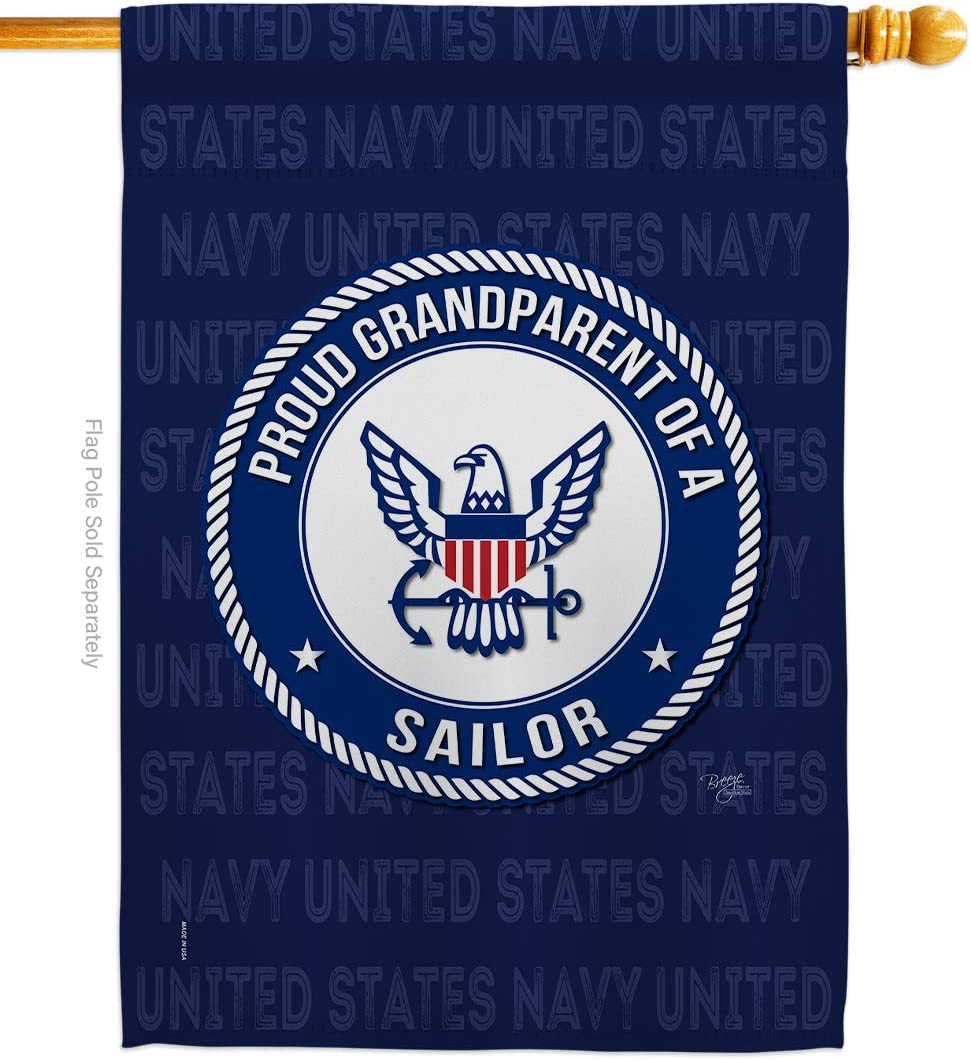 Breeze Decor Proud Grandparent Sailor House Flag Armed Forces Navy USN Seabee United State American Military Veteran Retire Official Decoration Banner Small Garden Yard Gift Double-Sided, Made in USA