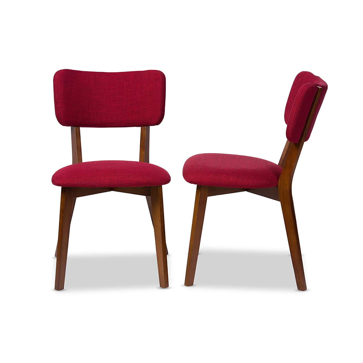 red upholstered dining chairs. Amazon.com - Baxton Studio Set Of 2 Monaco Mid-Century Modern Scandinavian Style Dark Walnut Finish And Red Fabric Upholstered Dining Side Chairs E