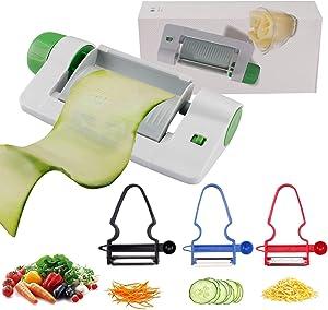 4 Pack Mandoline Slicer Cheese Slicers Crinkle Cutter Food Shredder, 7-In-1 Adjustable Graters Zoodle Spiralizer Veggie Chopper, for Kitchen Tomato Potato Fries Zucchini Fruits Pasta Apple Vegetables
