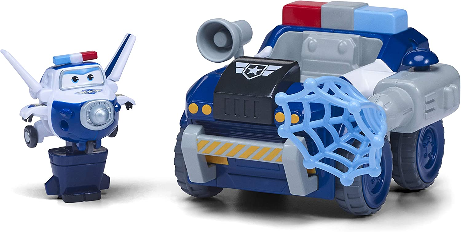 Pauls Police Rover Vehicle Transform-A-Bot Paul Toy Figure Super Wings