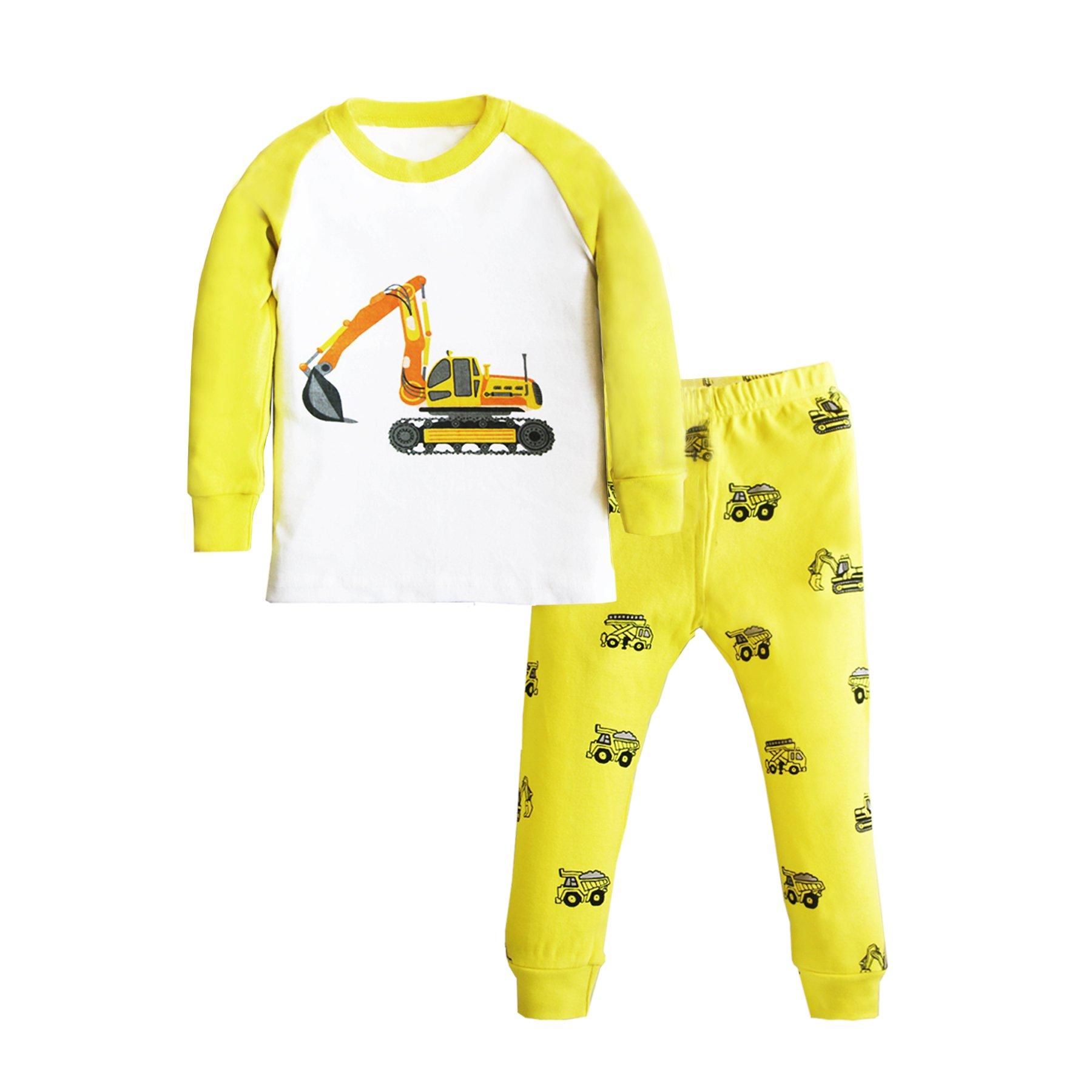 Deer Mum Boys Cool Car Truck Train Sleepwears Kids Pattern Cute Pajamas Set 2 Pieces (Digger, 3t)