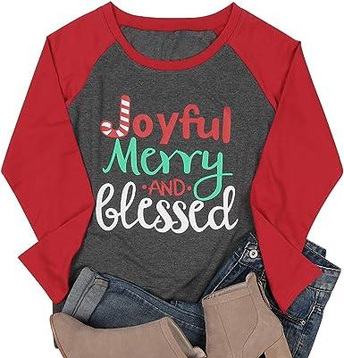 Women's 3//4 Raglan Sleeve Believe Christmas Shirt Size Large