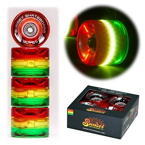 Image Unavailable. Image not available for. Color  Sunset Skateboards Rasta  59mm Cruiser LED Light-Up Wheels Set with ABEC-7 Carbon 47453c9cfc4