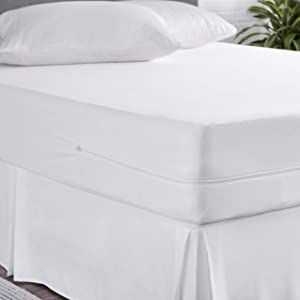 AmazonBasics Fully-Encased Waterproof Mattress Cover Protector, Twin, Standard 12 to 18-Inch Depth