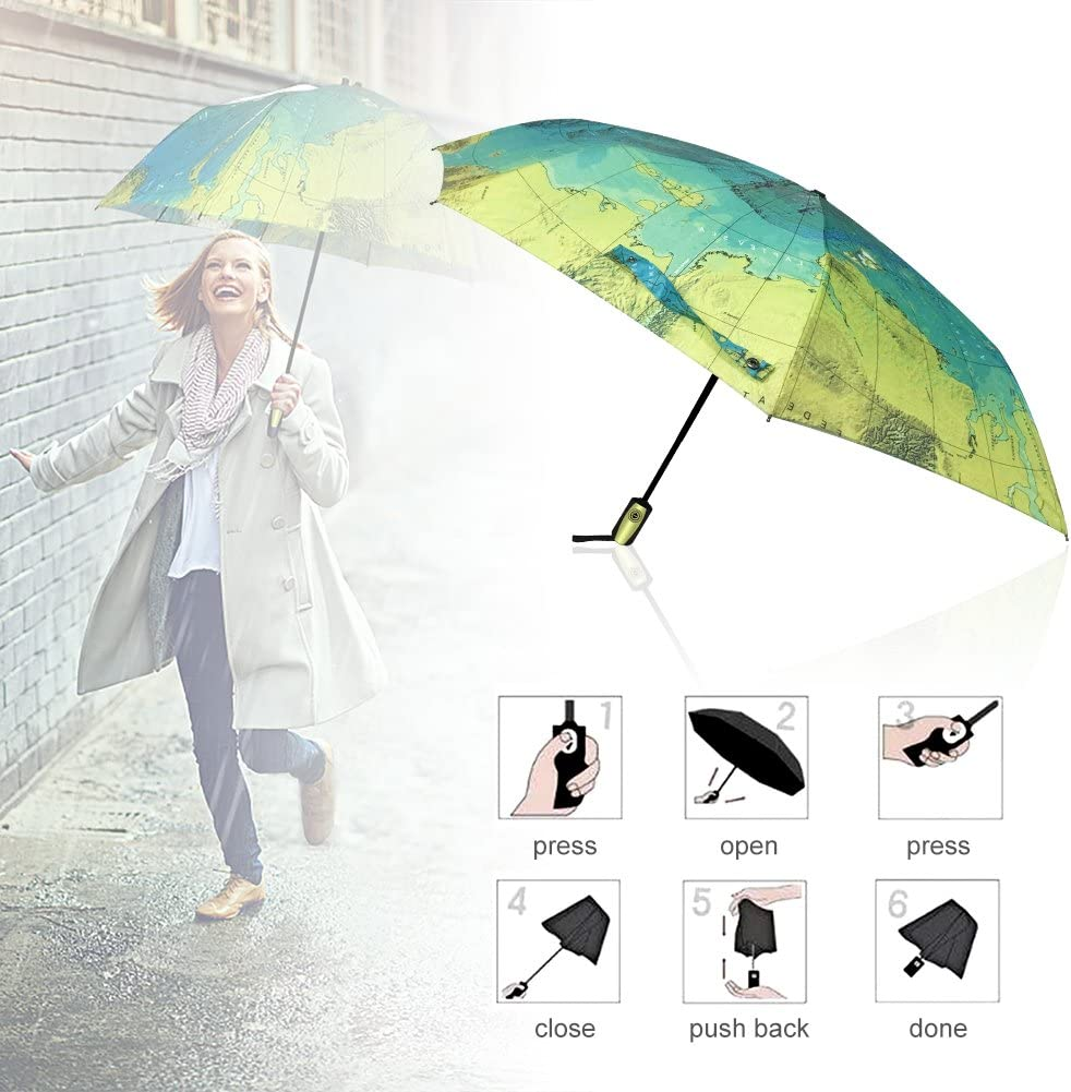 Windproof Reinforced Canopy Ergonomic Handle Auto Open Close Won/'t Break If Inverted Durability Tested 5000 Times econoLED Compact World Map Travel Umbrella