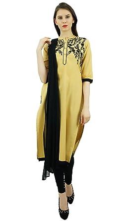 Amazon Com Atasi Women S Linen Straight Embroidered Salwar Suit Set