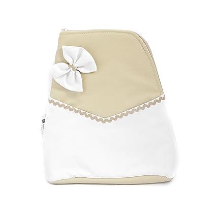 Mochila bolso carrito bebe Polipiel - Color beige-blanco ...