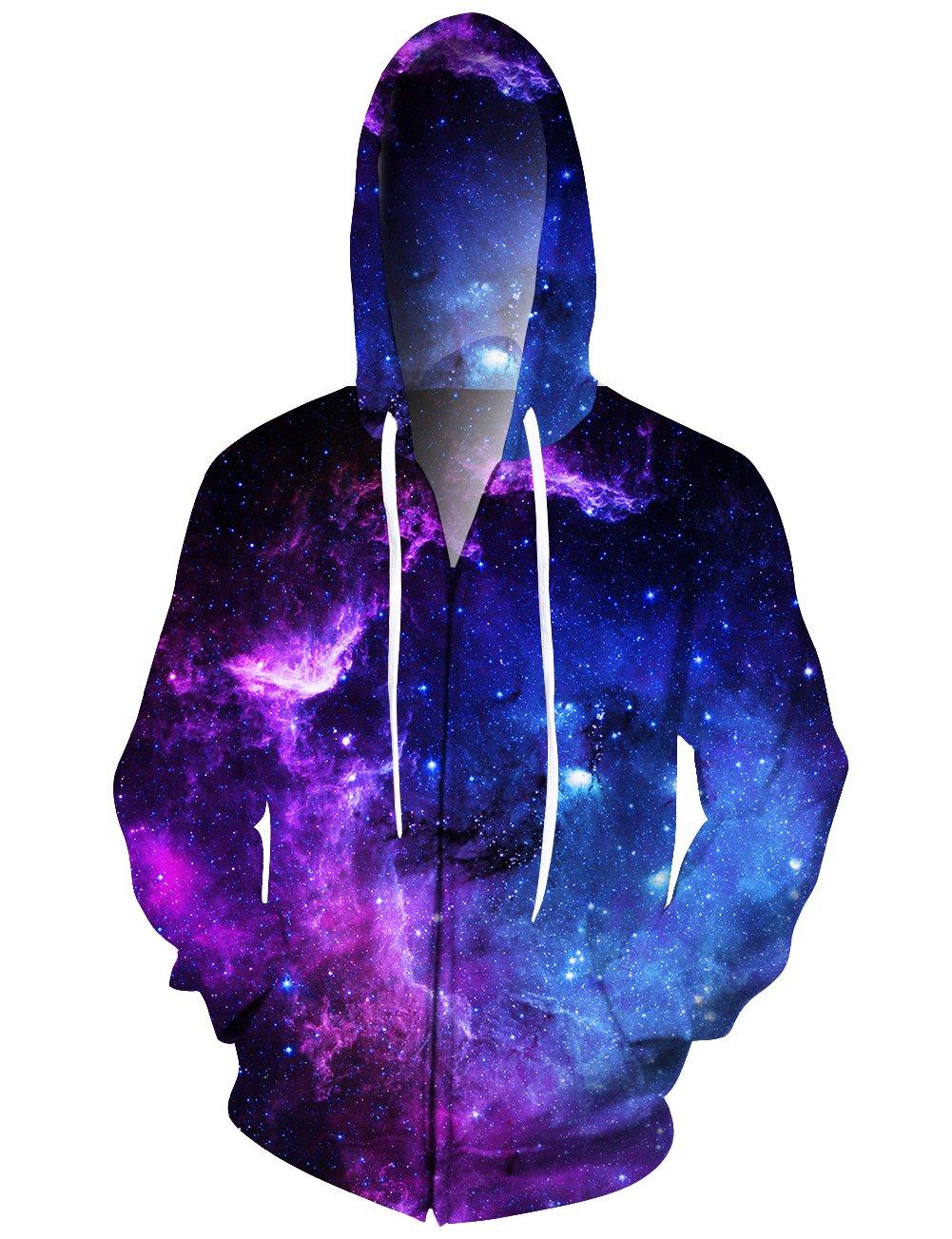 Idgreatim Mens All Over 3D Galaxy Printed Zipper Hoodie Sweatshirt Pullover Hooded Jacket