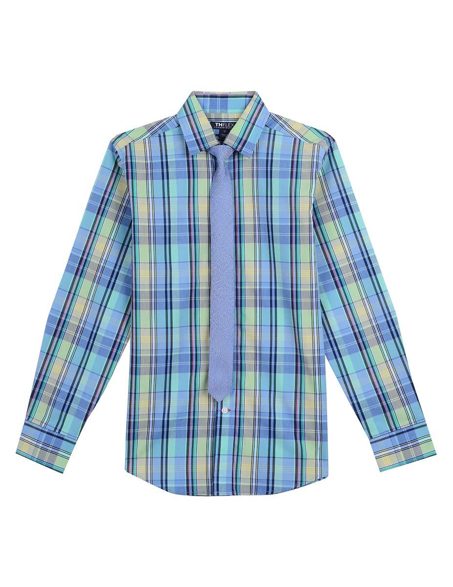 Tommy Hilfiger Boys' Big Long Sleeve Dress Shirt with Tie, Garden Aqua Green 10