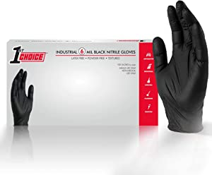 1st Choice Industrial Black Nitrile Gloves, Box of 100, 6 Mil, Size X-Large, Latex Free, Powder Free, Textured, Disposable, Non-Sterile, 1PBNXLBX