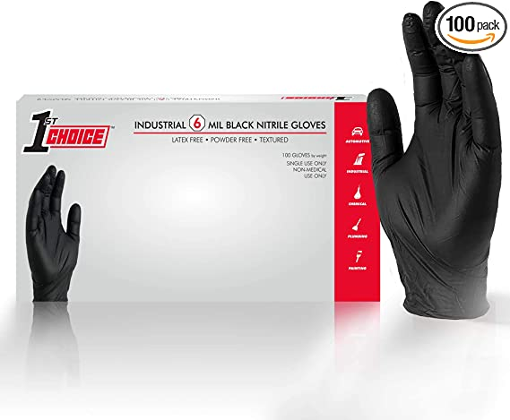 1st Choice Industrial Black Nitrile Gloves Box Of 100 6 Mil Size Small Latex Free Powder Free Textured Disposable Non Sterile 1pbnsbx Industrial Scientific Amazon Com