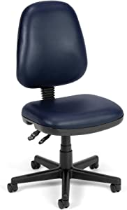 OFM Core Collection Straton Series Armless Swivel Task Chair, Anti-Microbial/Anti-Bacterial Vinyl, Mid Back, in Navy