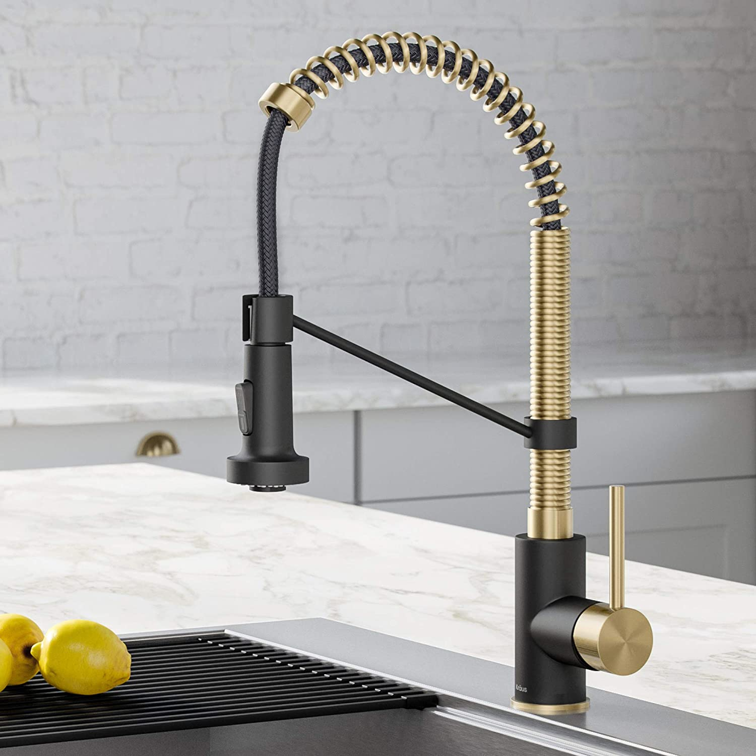 Kraus Kpf 1610sfacbmb Bolden 18 Inch Single Handle Commercial Style Pull Down Kitchen Faucet With Dual Function Sprayer Spot Free Antique Champagne Bronze Matte Black Amazon Com