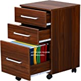 DEVAISE 3-Drawer Wooden File Cabinet with Wheels, 15.7-Inch x 15.7-Inch x 25.8-Inch, Walnut