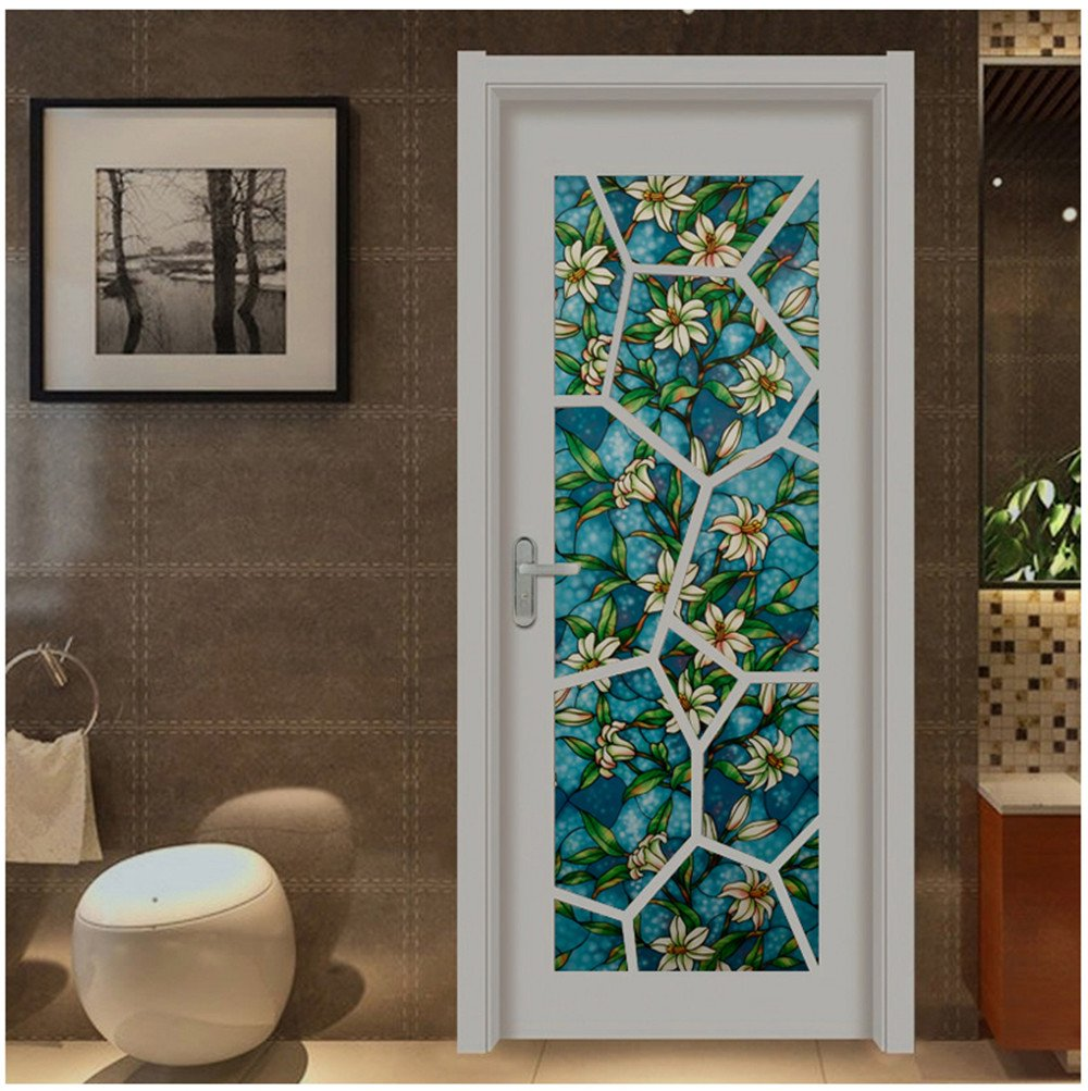 Viclover Static Non-Adhesive Window Film Stained Glass Film Privacy Decorative Window Clings ZH-CS-VC 17.71 inches by 78.74 inches, Orchid Pattern Design