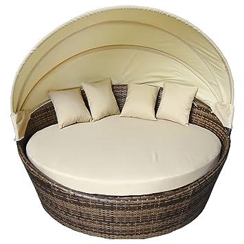 Charles Bentley Große Rattan Tagesbett Mit Sun Canopy Scatter Kissen 180cm  Durchmesser Im Freien Veranda Conservatory