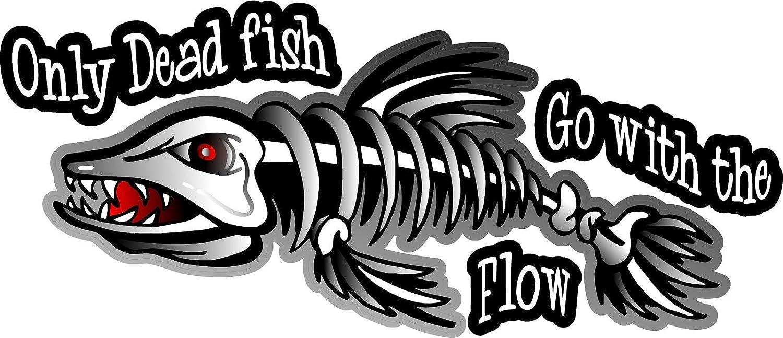 """3/"""" x 7/"""" Skeleton Fish Decals Stickers One Pair ProSticker 1500"""