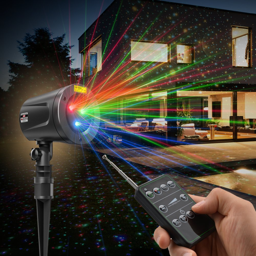 Laser Christmas Lights, TaoTronics Outdoor Light Projector for Holiday, RGB Amazing Colors, Class Ⅲ-A Laser Projector with Japan Sharp Chip, Wireless RF Remote, IP65 Waterproof, FDA Approved