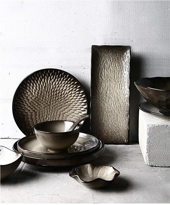 Vajilla Placa de cerámica, niebla negra, creativa cubertería japonesa, plato vintage, tazón de arroz, plato de sopa, plato, placa de carne occidental: ...