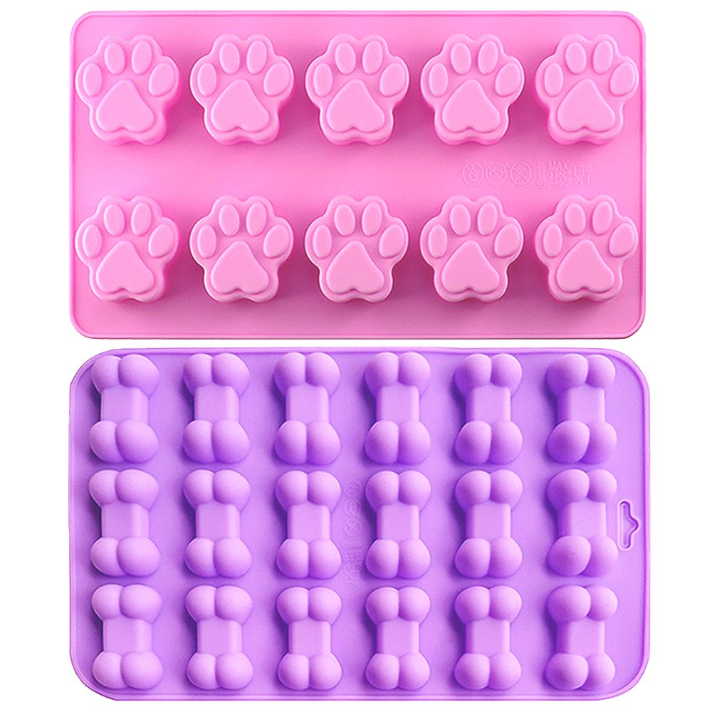 IHUIXINHE Food Grade Silicone Mold, Non-Stick Ice Cube Mold, Jelly, Biscuits, Chocolate, Candy, Cupcake Baking Mould, Muffin pan (Puppy Paw & Bone 2PCS)