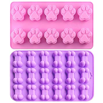 Food Grade Silicone Mold, IHUIXINHE Non-stick Ice Cube Mold, Jelly, Biscuits, Chocolate, Candy, Cupcake Baking Mould, Muffin pan (Puppy Paw & Bone ...