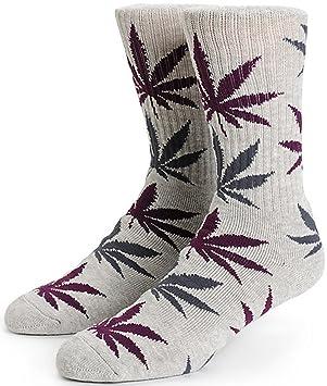 HUF hombre planta vida tripulación calcetines Heather gris/morado 9471