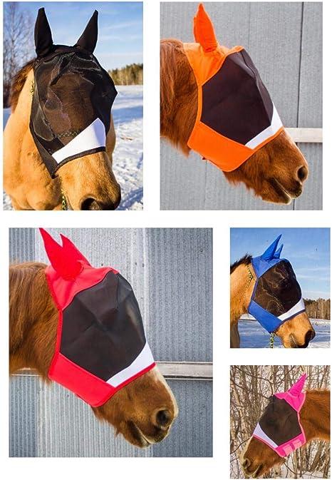 HORSE MAROON EAR BONNETS FLY VEILS COTTON NET MASK HOOD EQUESTRIAN WEAR FLY MASK