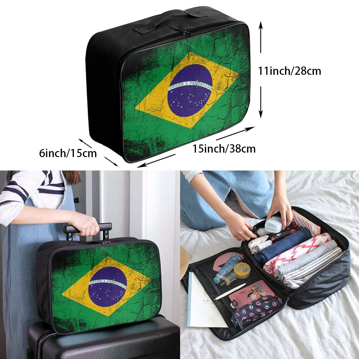 ADGAI Flag of Brazil Canvas Travel Weekender Bag,Fashion Custom Lightweight Large Capacity Portable Luggage Bag,Suitcase Trolley Bag