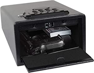 "Electronic Gun Safe Smart Quick Access Pistol Safe Storage Security Cabinet w/Four-keypad&2 Emergency Keys&Rechargeable Battery Q235 Carbon Steel Handgun Lock Security Box (12""(L) x 9""(W) x 5.5""(H))"