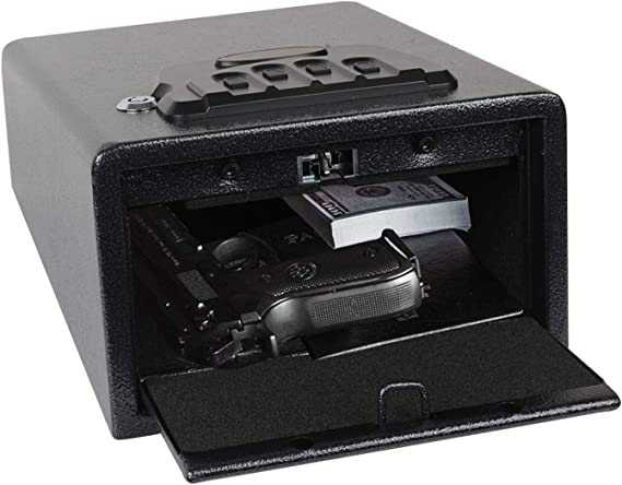 Electronic Gun Safe with Four-keypad&2 Emergency Keys&Rechargeable Battery Smart Quick Access Pistol Safe Storage Security Cabinet Q235 Carbon Steel Handgun Lock Security Box w/Pop-Open Door