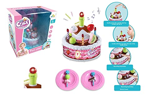 BEIBUWAN DIY CAKE Electric Music Cake Kitchen Toys Play House Pretend Birthday Gift Candles Recorded