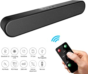 LENRUE Computer Speakers, Bluetooth 5.0 Wireless PC Soundbar with Mic, AUX/RCA, USB, Remote Control, Support for Desktop Computer, Laptop, PC, Smartphone, Projector, Tablet, Monitor, TV