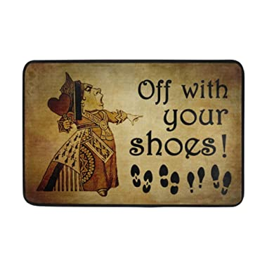 Naanle Entrance Doormat Take Off Your Shoes Indoor Door Mat Non-Slip Doormat 23.6 by 15.7 Inch Machine Washable Polyester Fabric