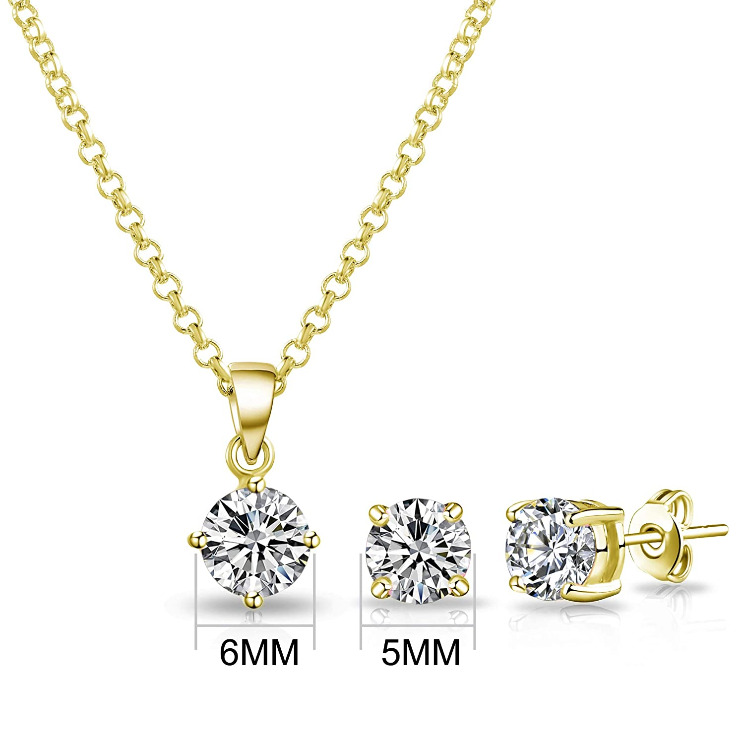 Philip Jones Gold Round Solitaire Set Created with Austrian Crystals