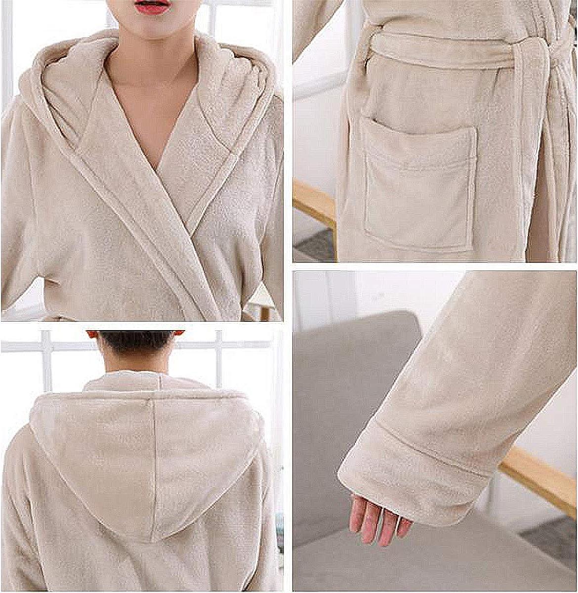 JUNMAONO Grueso y cálido Señoras Robe Luxury Terry Toweling ...