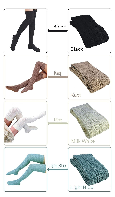 5eca97fab Amazon.com  Over Knee Leg Warmer Crochet Thigh High Boot Socks Crochet Long Socks  Leg Warmer Leggings For Girls Womens (4 Pair-1)  Clothing