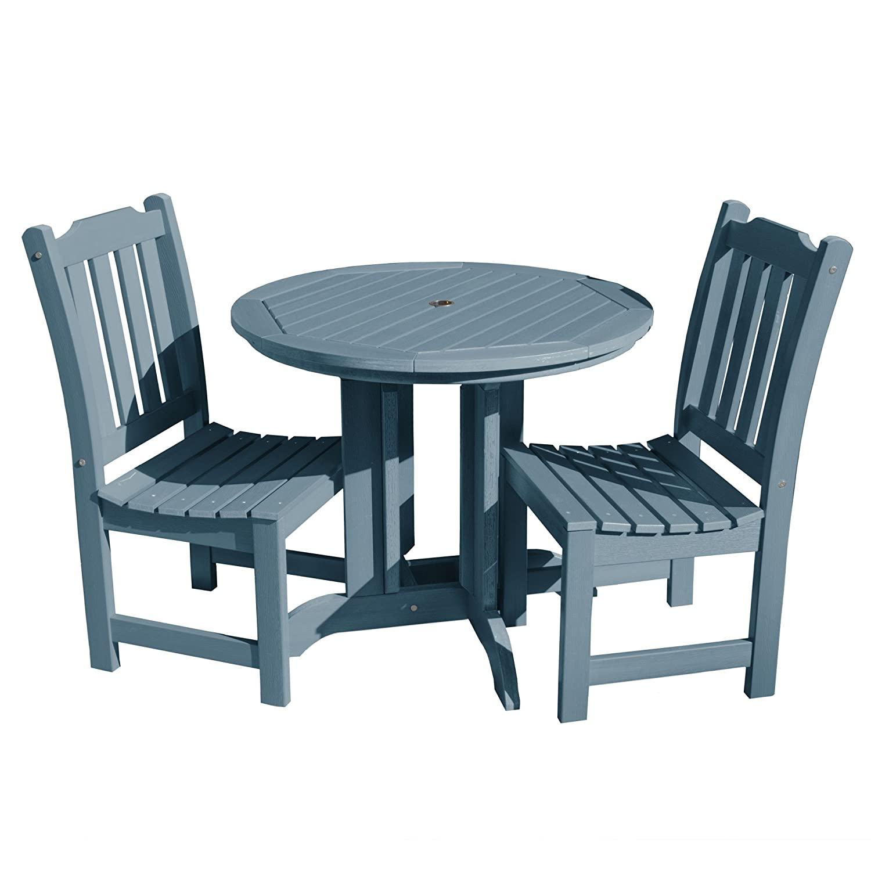 Highwood 3 Piece Lehigh Round Dining Set Nantucket Blue Amazon In Garden Outdoors