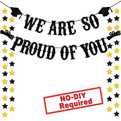 Graduation Party Supplies 2020 Glitter Black We are So Proud of You Banner for Graduations Party Decorations (Black): Health & Personal Care
