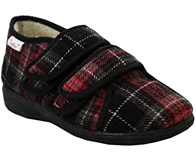 abe52e66c46b Dr Keller Womens Ladies Fully Adjustable Wide Fit Velcro Strap Diabetic  Orthopaedic Velvet Comfort Slippers Shoes