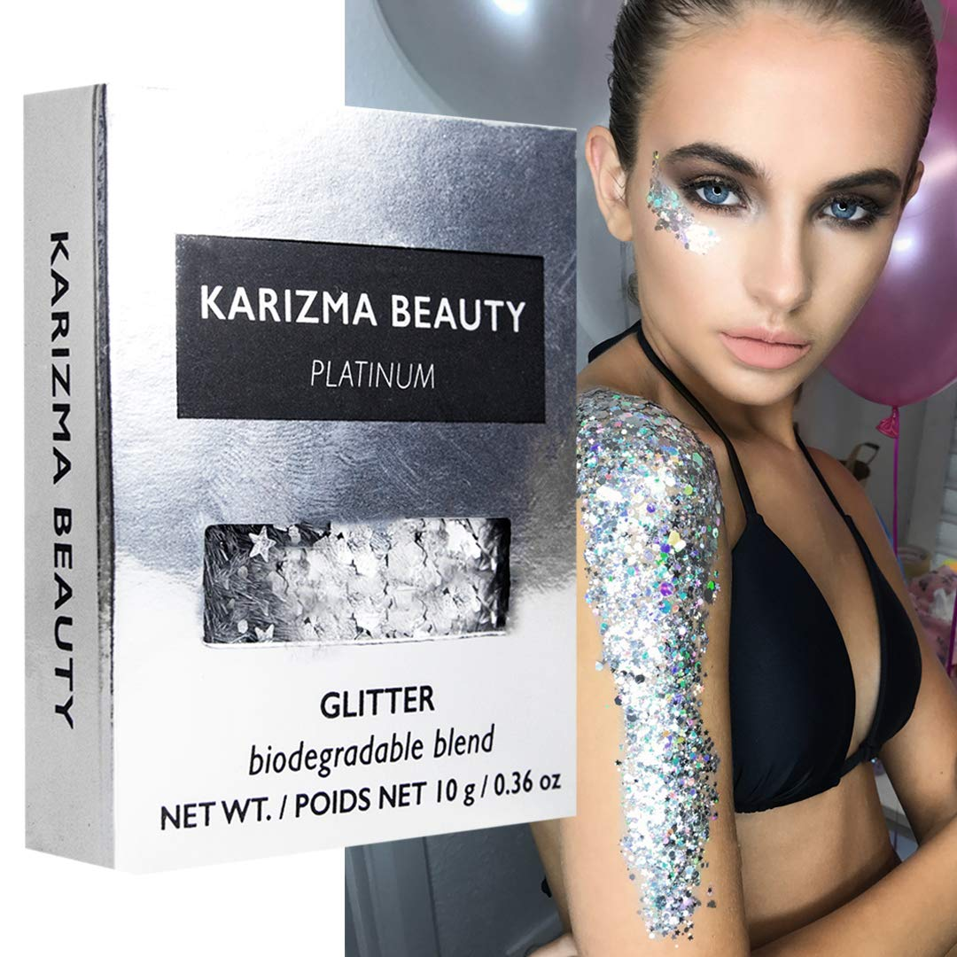 Platinum Biodegradable Chunky Glitter // Karizma Beauty Silver Bio Glitter Eco Glitter Face Glitter Festival Chunky 10g