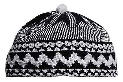 Amazon.com   Indigo Blue Zigzag Design Muslim Beanie Kufi Hat Crown ... b4eac459220
