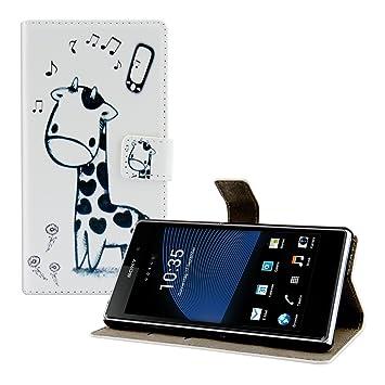 kwmobile Funda para Sony Xperia Z1 - Wallet Case Plegable de Cuero sintético - Cover con. Pasa ...