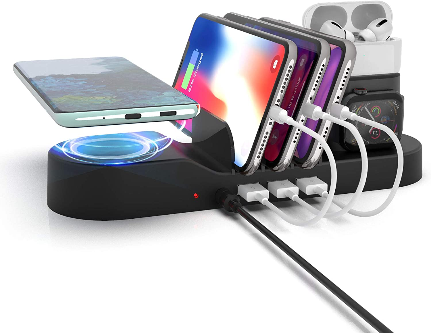 Imguardz 5 in 1 Charging Station for Multiple Devices, Multi Charger Organizer Docking Station with Wireless Charging 3 USB Port Compatible with iPhone/AirPods/iPad/iWatch/Android Phone, Black