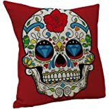 Nunubee Red Skull Linen Cotton Cushion Cover Throw Pillowcase Home Car Sofa