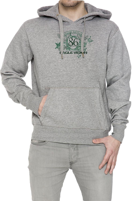 86 Eagle Vision Gris Algodón Hombress Sudadera Sudadera Con Capucha Pullover Grey Men's Sweatshirt Pullover Hoodie